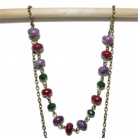 Ruby  Emerald and Sugalite bronze necklace, May July birthstone necklace