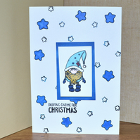Gnome stamped greeting card - A6 size card - Driving gnome for Christmas