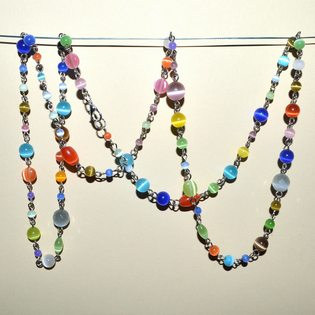 Bohemian rainbow hippy look long necklace in shimmer glass