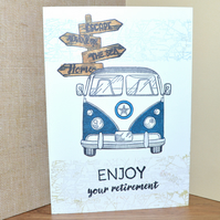 Camper van retirement stamped card - A6 sized card