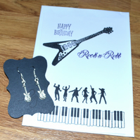 Rock n Roll stamped birthday card with earrings - A6 sized card