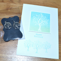 Tree of Life printed birthday card and earrings - A6 sized card