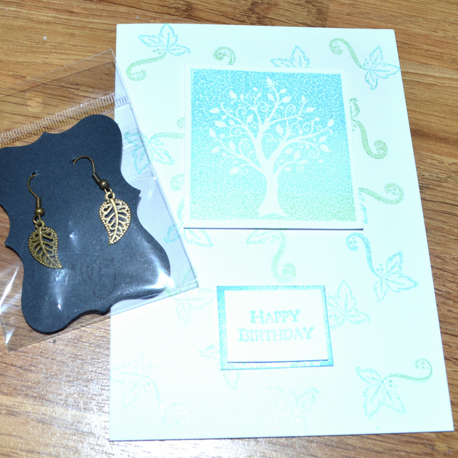 Tree of Life printed birthday card and bronze earrings - A6 sized card