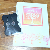 Tree printed greeting card and earrings - A6 sized card