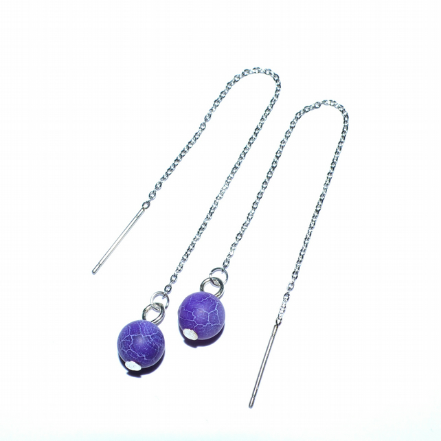 Purple agate stainless steel threader earrings