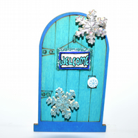 Turquoise handpainted Winter fairy door