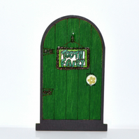 Dark green handpainted fairy door