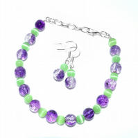 CLEARANCE SALE - Glass beaded bracelet and earrings set - purple and mint green