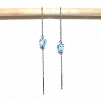 Blue crystal butterfly threader earrings