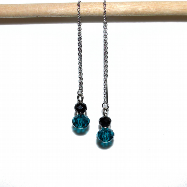Teal and black crystal stainless steel threader earrings