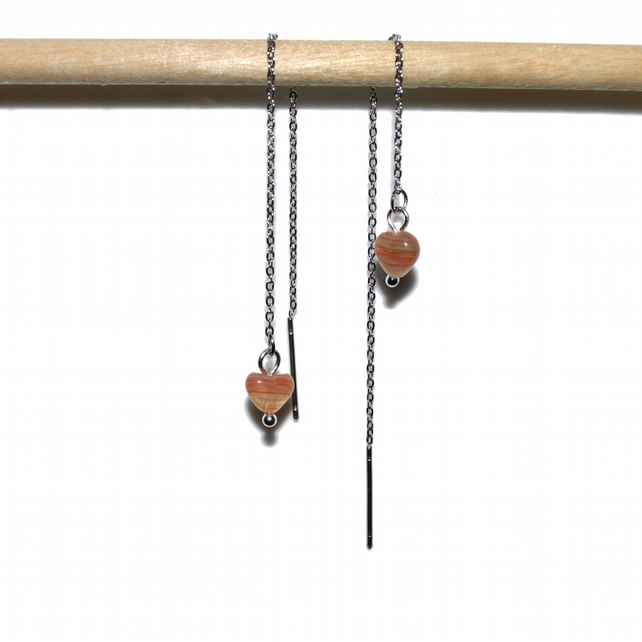 Carnelian Heart stainless steel threader earrings