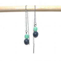 Green and black agate stainless steel threader earrings