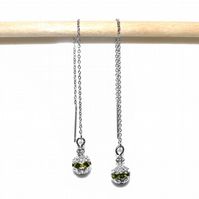 Olive crystal rhinestone bead stainless steel threader earrings