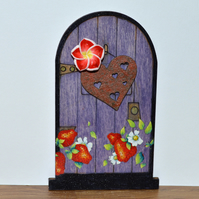 Strawberry and purple floral fairy door