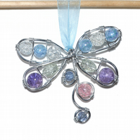 Wire wrapped beaded dragonfly suncatcher