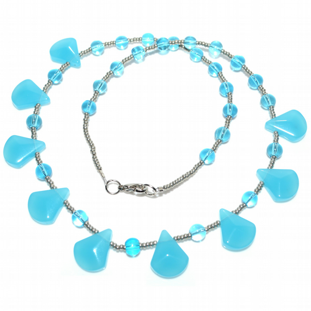 Spearmint blue glass bead necklace
