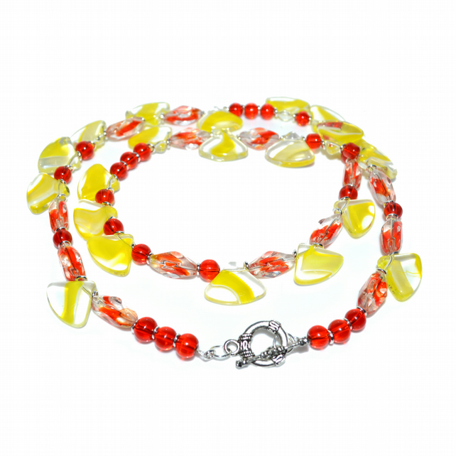 Red and yellow glass marble bead necklace