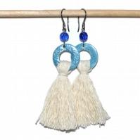 Tassel shell and glass textile earrings
