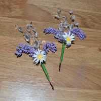 A pair of daisy and lavender hair grips, perfect for a wedding or just because