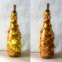 SALE Golden sprayed paper pinwheel decorated lighted wine bottle