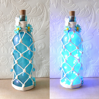 SALE Turquoise blue sprayed macrame knotted wine bottle