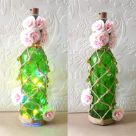 SALE Cherry blossom inspired sprayed macrame knotted wine bottle