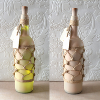 SALE Cream sprayed wine bottle with lights and tags