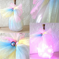 SALE Pearl finish lighted wine bottle with rainbow ribbon