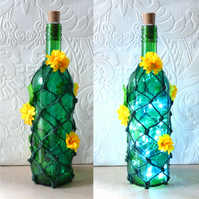 SALE Dandelion inspired decorated wine bottle with lights and tags