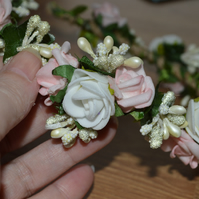 Pink and white flower crown tiara, perfect for a bridesmaid or bride
