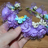 Purple and turquoise flower crown tiara, perfect for a bridesmaid or bride