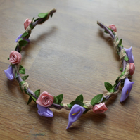 Pink rose and lilac lily flower crown, perfect for a bridesmaid or bride