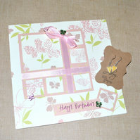 Pastel butterfly birthday card and enamel heart earrings - 7 inch square card