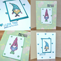 Pack of 2 heart Gnome stamped greeting cards - A6 size card