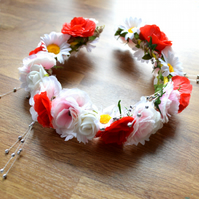 Red white and pink flower crown tiara, perfect for a fairy queen
