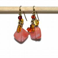 Mismatched Cherry Quartz and crystal cube bronze earrings