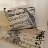 Music make up bag, zippered bag in cotton linen
