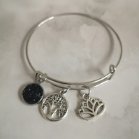 Tree of life bangle, druzy bangle lotus flower