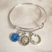 Druzy bangle bracelet, sun and moon bracelet