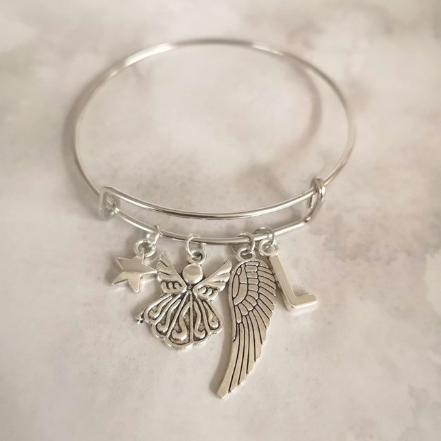 Angel wing bangle bracelet, personalised bracelet with initial