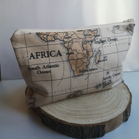 World make up bag, world map pattern, cosmetic bag in cotton