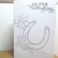 Embroidered Horseshoe Wedding Greeting Card