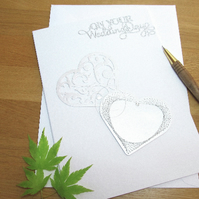 Embroidered hearts wedding, anniversary, Valentines, Mothers day greeting card