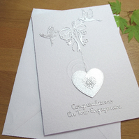 Engagement, wedding, anniversary embroidered heart card