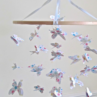 Polkadot butterfly nursery mobile