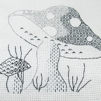 Blackwork Mushroom Embroidery Kit