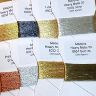 Fine metallic hand embroidery thread Heavy Metals pack