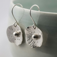 Silver poppy drop earrings