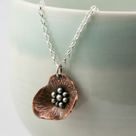 Copper and silver poppy necklace