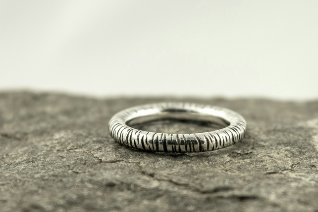 silver birch bark unisex band ring